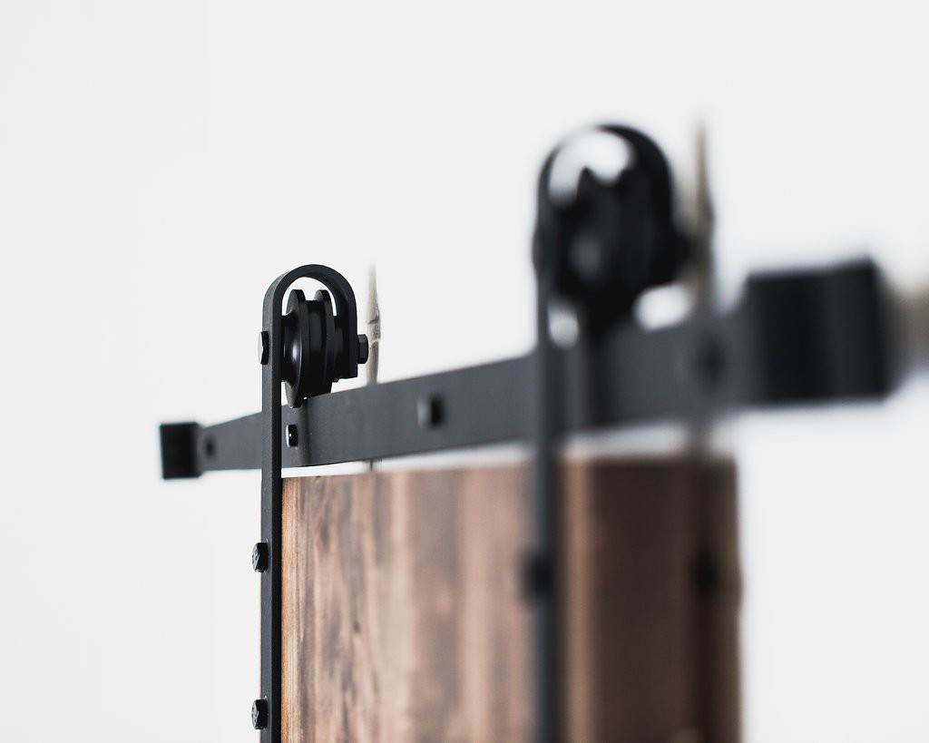 American-Made-8ft-Classic-Sliding-Barn-Door-Hardware-Black-Powder-Coat-0-hires