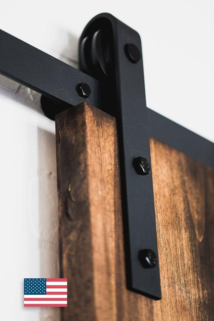 American-Made-8ft-Classic-Sliding-Barn-Door-Hardware-Black-Powder-Coat-4-hires