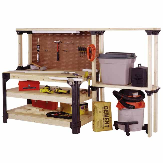 large workbench with storage