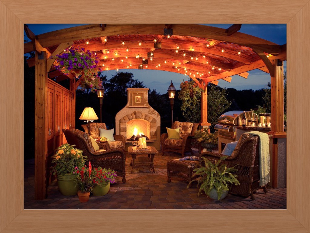 gazebo at night with outdoor string lights